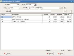 Alvendi PRO - Registro de salida de productos