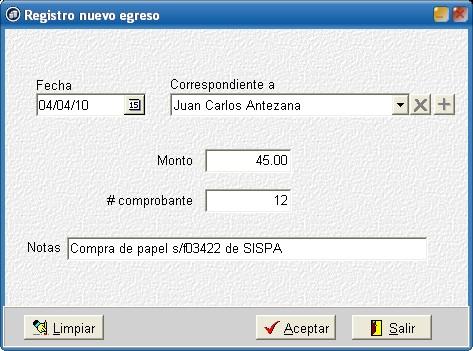 cChic - Registro de egreso