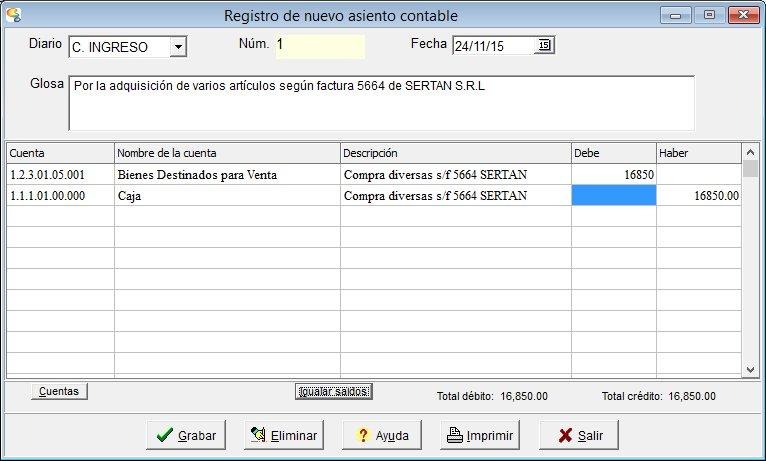 Registro de asiento contable en Contalux PRO