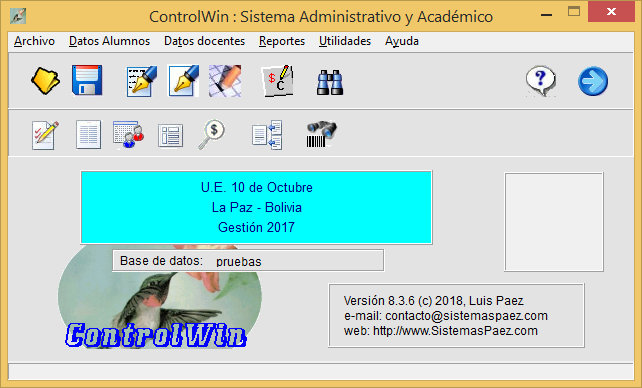 Sistema para colegios ControlWin8 - Ventana principal