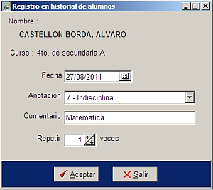Historial de alumnos