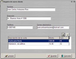 Cuotas-mensuales: Registro de cliente