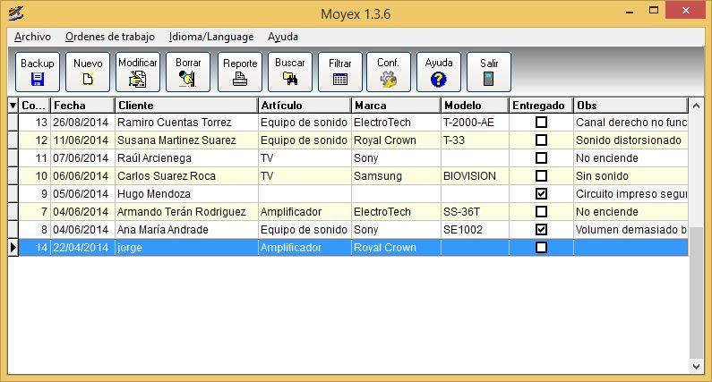 Ordenes de trabajo con Moyex