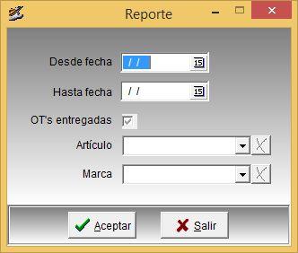 Configuración de reporte