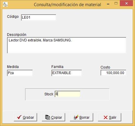 Formulario de registro de material