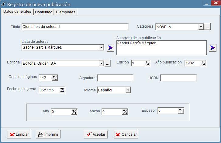 Registro de publicación