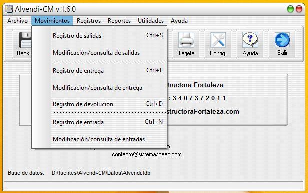 Menú de movimientos del software para almacén Alvendi CM