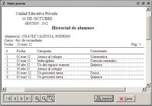 Reporte de historial de alumno