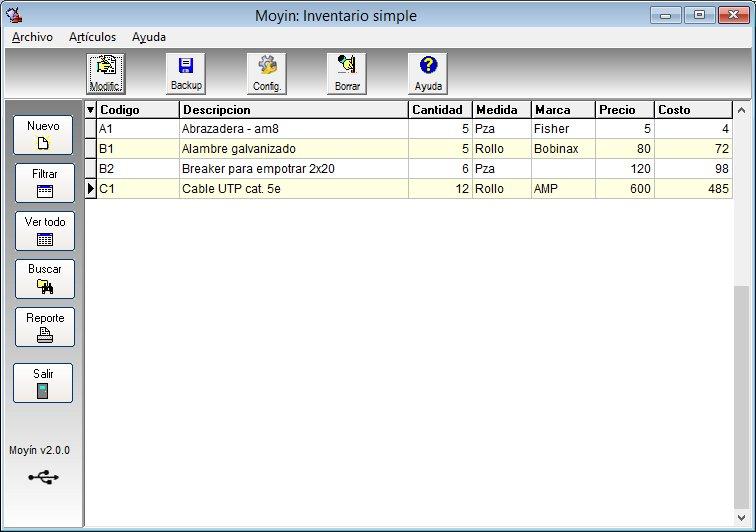 Programa de inventario Moyin - pantalla principal
